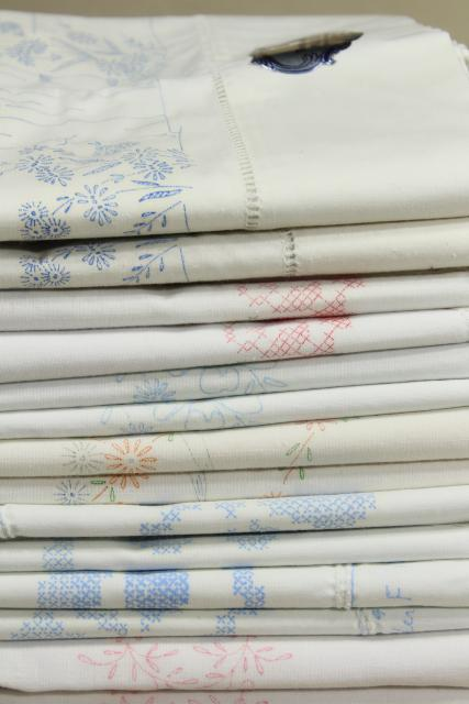 lot vintage cotton & blend pillowcases for embroidery, stamped to embroider