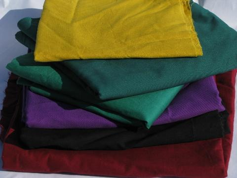 lot vintage cotton & cotton blend fabric solids, amish quilt colors