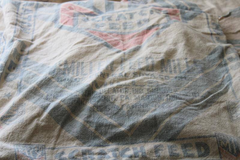 lot vintage cotton feed sacks, chicken mash grain bags w/ faded blue & red print advertising