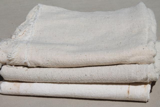 lot vintage cotton feedsack sack fabric, rustic homespun texture primitive sacks