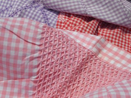 lot vintage cotton gingham checked aprons, kitchen pinafore smock