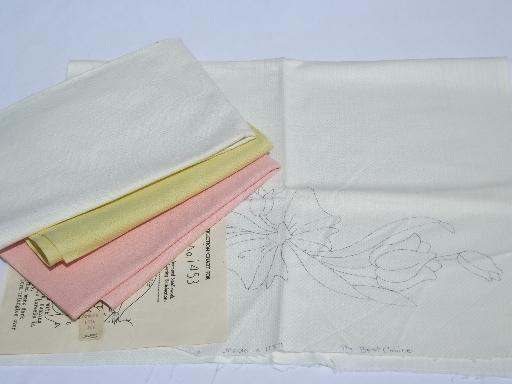 Lot Vintage Cotton Huck Towels For Swedish Embroidery Needlework And