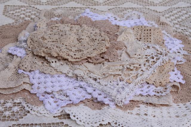 Lot Vintage Cotton Lace Doilies U0026 Small Tablecloths, Net Needle Lace U0026  Crochet