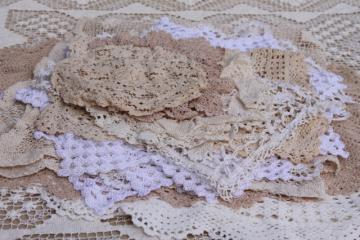 lot vintage cotton lace doilies & small tablecloths, net needle lace & crochet