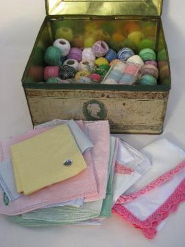 lot vintage cotton / linen hankies for lace edgings w/ fine tatting crochet thread