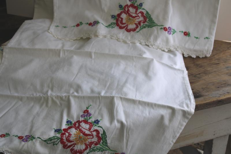 lot vintage cotton pillowcases w/ fancywork embroidery & crochet lace edging