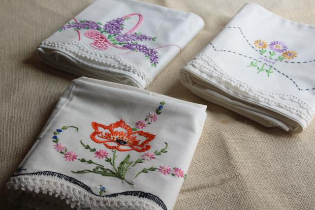 lot vintage cotton pillowcases fancywork embroidery & lace edging, embroidered lilacs etc