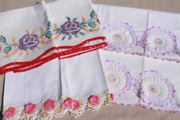 lot vintage cotton pillowcases, fancywork linens w/ crochet lace & embroidery