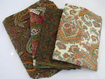 lot vintage cotton print dress material or quilting fabric, paisley prints