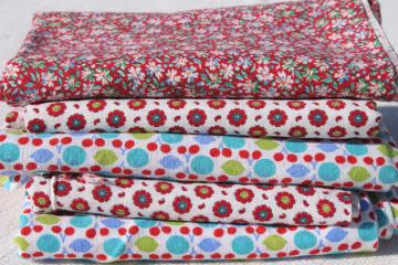 lot vintage cotton print feed sack fabric, retro flower fruit prints red & aqua