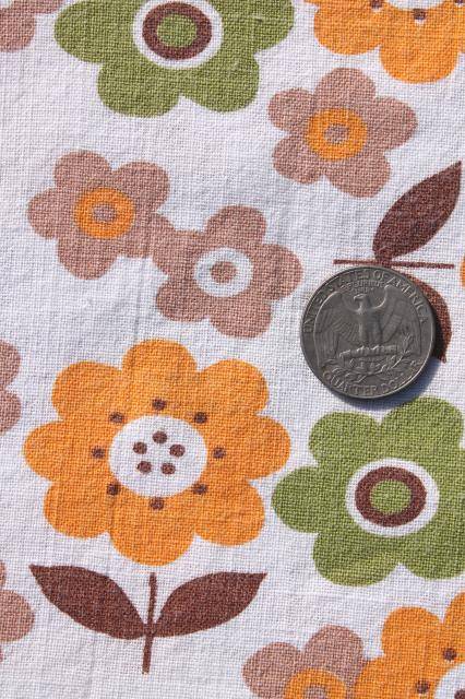 lot vintage cotton print feed sack fabric, retro flowers, paisley bandana prints aqua green mustard
