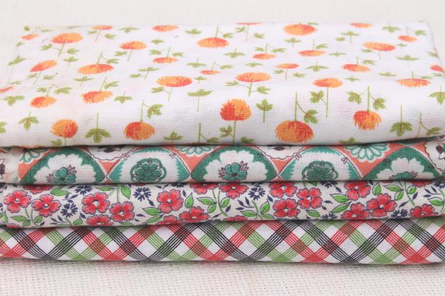 lot vintage cotton print feed sack fabric, retro plaid, ditsy flowers prints feedsacks
