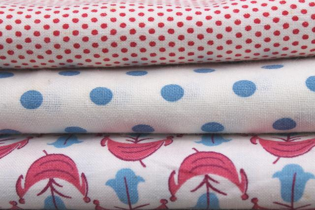 lot vintage cotton print feedsacks, red white blue feed sack fabric for quilting etc.
