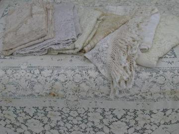 lot vintage cotton quaker lace type tablecloths, piano cover, lacy cutter fabric