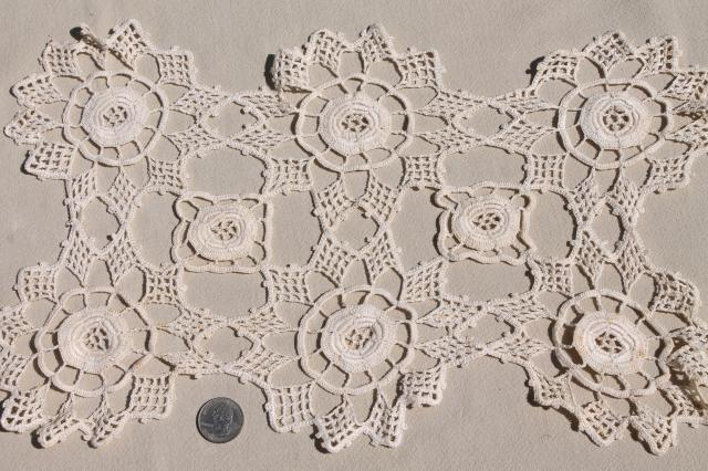lot vintage crochet lace doilies, table mats & square centerpieces, handmade crocheted lace