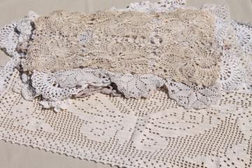 lot vintage crochet lace doilies, table mats & square centerpieces, handmade crocheted lace
