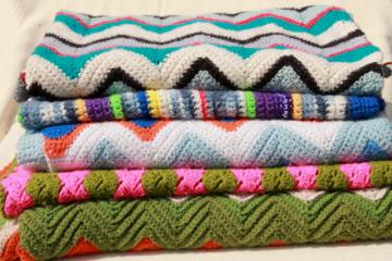 lot vintage crocheted afghans & small blankets, scrap yarn crochet in all colors!