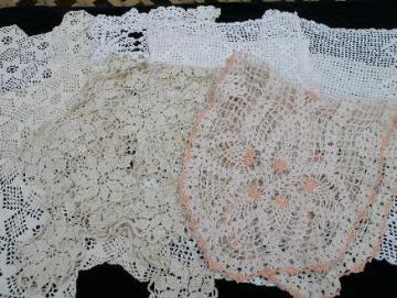 lot vintage crocheted cotton lace table runners, lacy crochet dresser scarves
