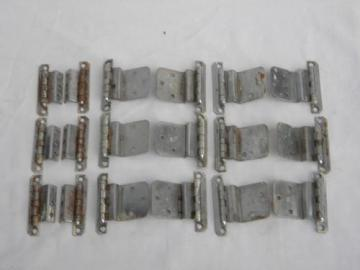 lot vintage deco chrome cabinet door hinges, architectural hardware