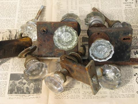 Lot Vintage Door Hardware Locks Antique Glass Doorknobs Mercury Star