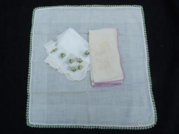 lot vintage embroidered fine cotton and linen hankies, Swiss, Madeira handkerchiefs etc.
