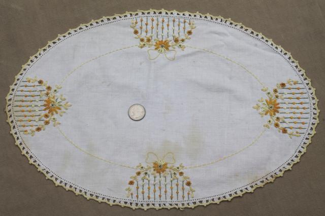 Lot vintage embroidered linens table runners dresser