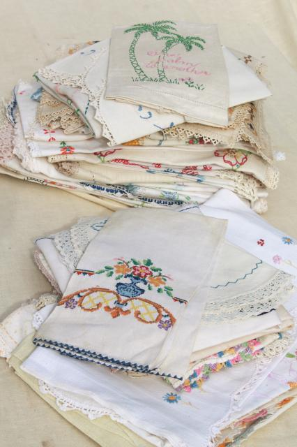 Lot Vintage Embroidered Linens Towels Runners Dresser Scarves W Embroidery Crochet Lace