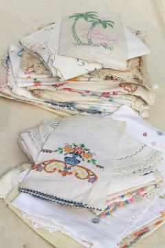 lot vintage embroidered linens, towels, runners & dresser scarves w/ embroidery & crochet lace
