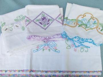 lot vintage embroidered pillowcases w/crocheted lace, flowers & bows
