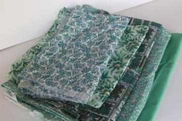 lot vintage fabric for quilting or small projects, teal & jade green solid color & prints