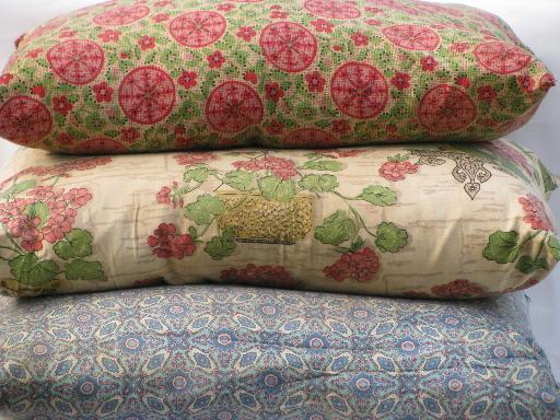 lot vintage feather bed pillows w/ old flowered cotton fabric covers