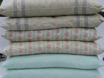 lot vintage feather pillows, three pairs, flowered and striped cotton