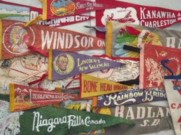 lot vintage felt pennants, 40s 50s 60s travel / camp souvenirs