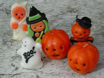 lot vintage figural candles, all Halloween