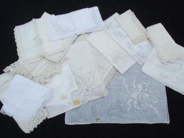 lot vintage fine cotton and linen whitework handkerchiefs, Swiss, Madeira hankies etc.
