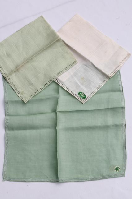 lot vintage fine linen handkerchiefs, pastel colored hankies w/ hemstitching