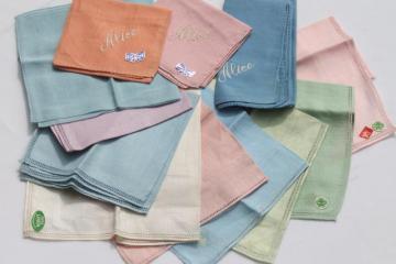 lot vintage fine linen handkerchiefs, pastel colored hankies w/ hemstitching