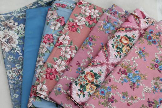 lot vintage floral chintz print cotton fabric, 40 yards in different prints & color