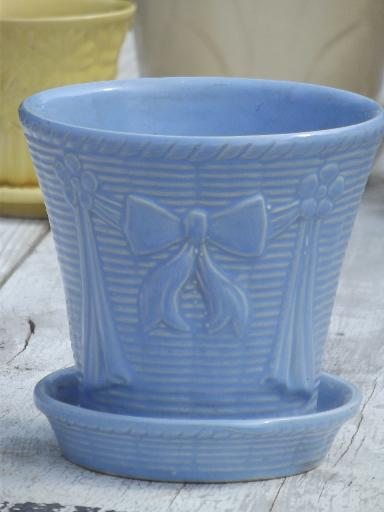 Lot Vintage Flower Pots In Blue Yellow Off White Mccoy