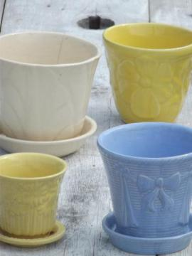 lot vintage flower pots in blue, yellow, off-white, McCoy pottery etc.