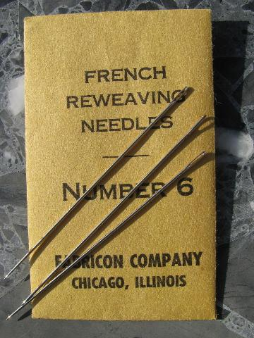 Lot Vintage French Reweaving Needles Long Thin Steel