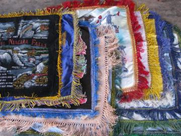 lot vintage fringed satin souvenir pillow covers, WWII Army, Navy, Air Force