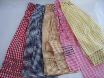 lot vintage gingham checks kitchen aprons w/ cross-stitch