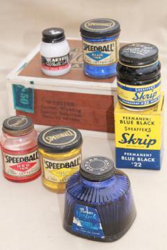 lot vintage glass ink bottles & jars w/ old paper labels advertising graphics