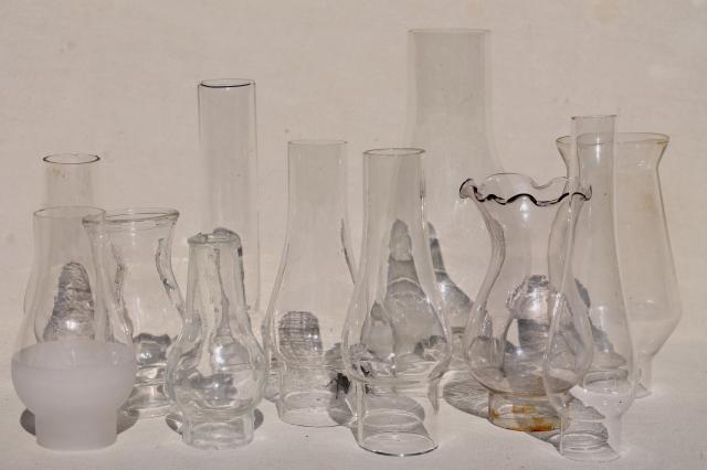 Lot Vintage Glass Lamp Chimney Shades For Old Mini Lamps