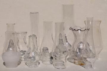 lot vintage glass lamp chimney shades for old mini lamps, small hurricanes & chimneys
