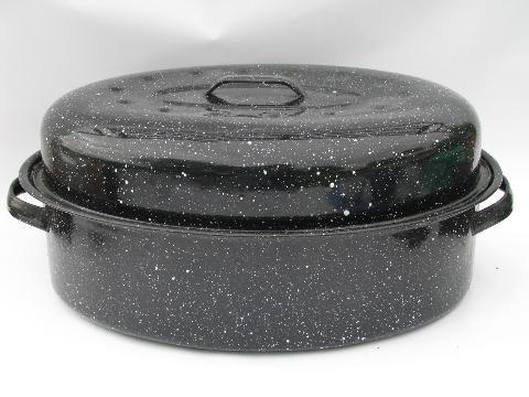Lot Vintage Graniteware Enamel Roasters Old Roasting Pans