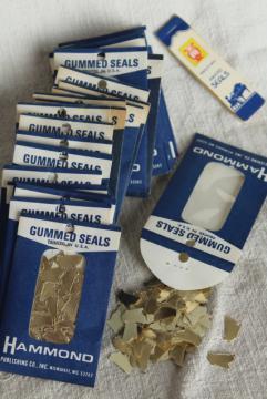 lot vintage gummed seals, gold foil paper stickers little golden harps