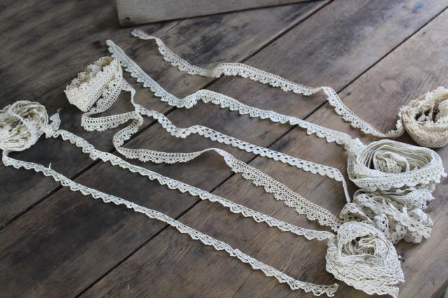 lot vintage handmade crochet lace sewing trim, narrow baby lace edgings