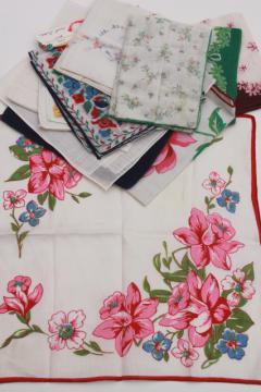 lot vintage hankerchiefs, ladies cotton hankies w/ print flowers or hemstitching embroidery